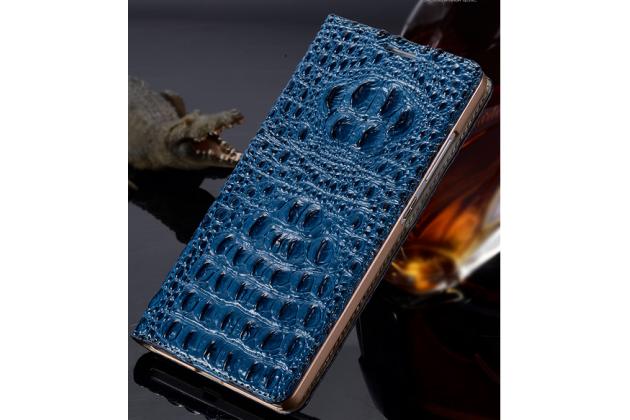 Роскошный эксклюзивный чехол с объёмным 3d изображением рельефа кожи крокодила синий для sony xperia m4 aqua/aqua dual e2303/e2306/e2312/e2333 . только в нашем магазине. количество ограничено