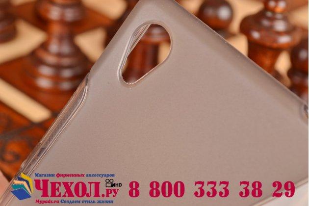 Ультра-тонкая полимерная из мягкого качественного силикона задняя панель-чехол-накладка для sony xperia m4 aqua/aqua dual серая