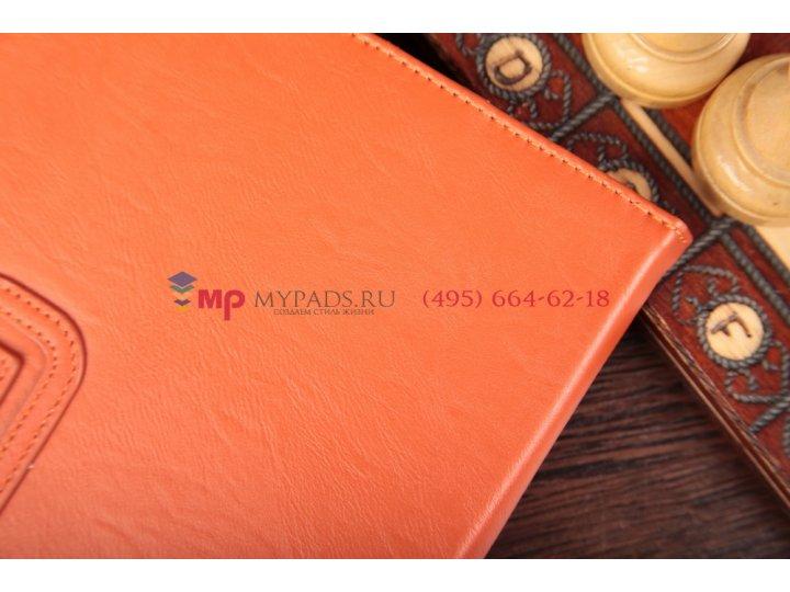 Уникальный эксклюзивный чехол-обложка для sony xperia tablet z с визитницей и держателем для руки оранжевый на..