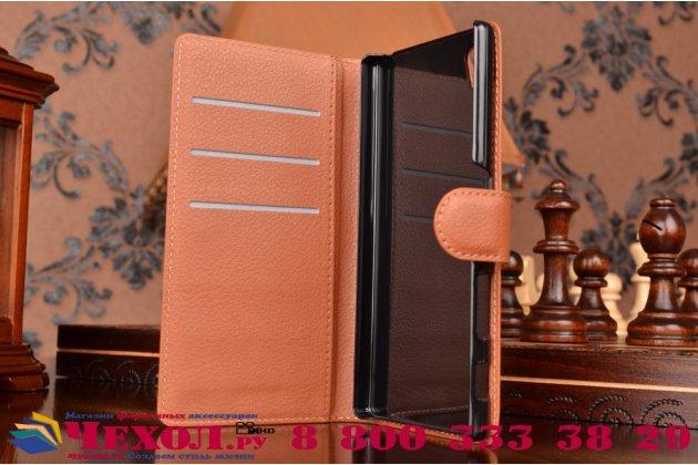 """Чехол-книжка из качественной импортной кожи с мульти-подставкой застёжкой и визитницей для сони экспериа зет 5  / зет 5  дуал e6603/e6633 5.2"""" коричневый"""