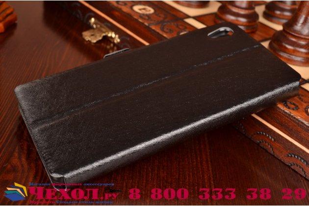 Чехол-книжка  с окошком для входящих вызовов и свайпом  для sony xperia z5 / z5 dual sim e6603/e6633 5.2 водоотталкивающий черный