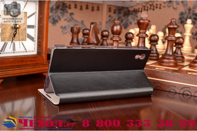Чехол-книжка  для  sony xperia z5 / z5 dual sim e6603/e6633 5.2 из качественной водоотталкивающей импортной кожи на жёсткой металлической основе черного цвета