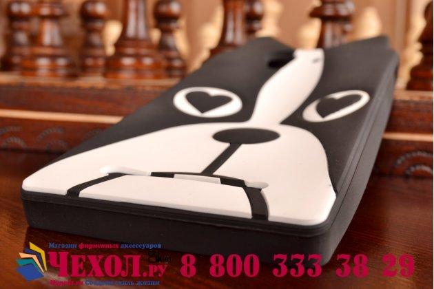 """Задняя панель-чехол-накладка с объёмным 3d изображением для sony xperia c3/c3 dual sim d2533 /d2502 /s55t/ s55u """"тематика черно-белая собака"""""""