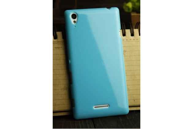 Ультра-тонкая полимерная из мягкого качественного силикона задняя панель-чехол-накладка для sony xperia t3 d5102/d5103 голубая