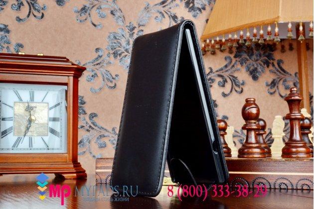 Вертикальный откидной чехол-флип для sony xperia t3 d5103 lte 4g черный кожаный