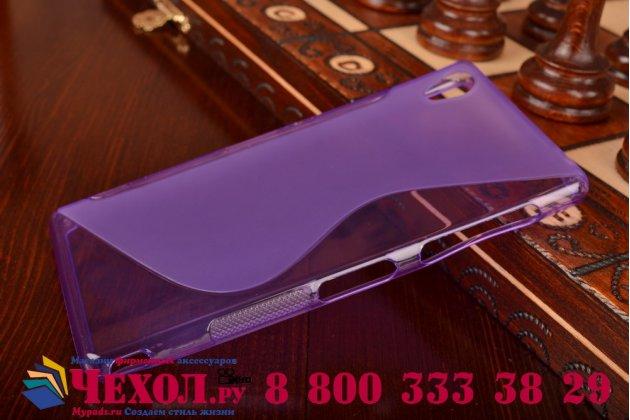Ультра-тонкая полимерная из мягкого качественного силикона задняя панель-чехол-накладка для sony xperia z3 d6603/ z3 dual d6633 фиолетовая
