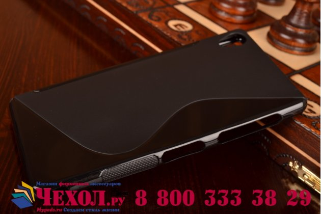 Ультра-тонкая полимерная из мягкого качественного силикона задняя панель-чехол-накладка для sony xperia z3 d6603/ z3 dual d6633 черная