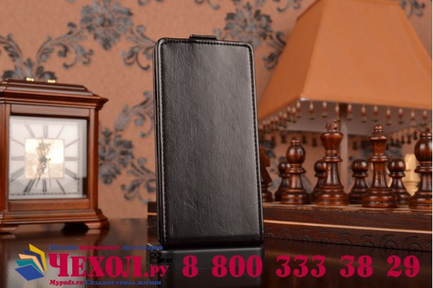 Вертикальный откидной чехол-флип для sony xperia z3 d6603/ z3 dual d6633 черный кожаный