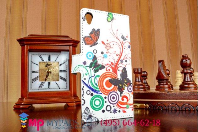"""Уникальный необычный чехол-книжка для сони иксперия z 3 д6603/ з 3 дуал д6633 """"тематика цветок сакуры"""""""