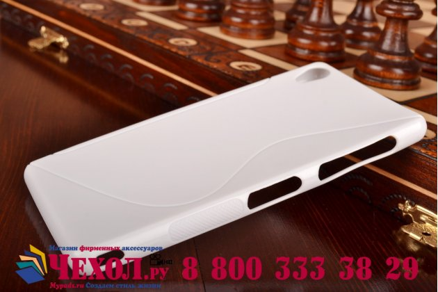 Ультра-тонкая полимерная из мягкого качественного силикона задняя панель-чехол-накладка для sony xperia z3 d6603/ z3 dual d6633 белая