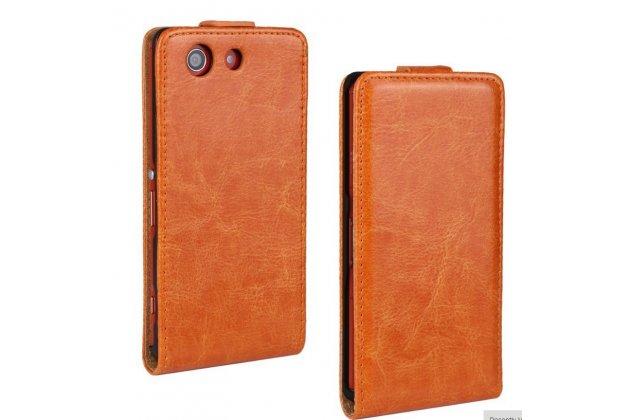 """Вертикальный откидной чехол-флип для sony xperia z3 compact d5803 оранжевый из качественной импортной кожи """"prestige"""" италия"""