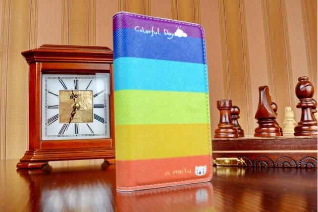 """Уникальный необычный чехол-книжка для sony z3 compact d5803  """"тематика все цвета радуги"""""""