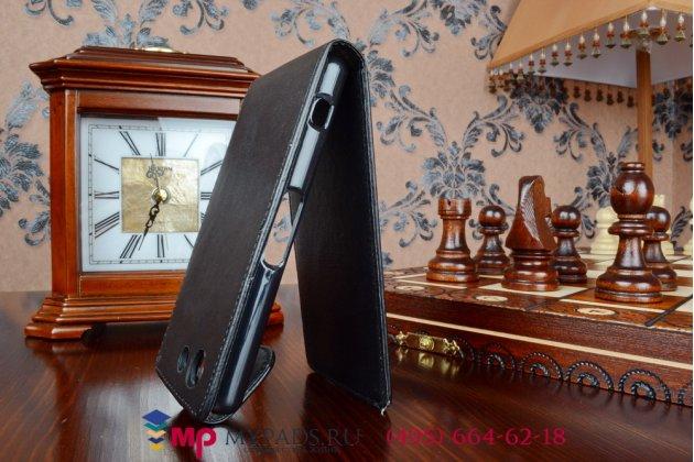 Вертикальный откидной чехол-флип для sony z3 compact d5803 черный кожаный