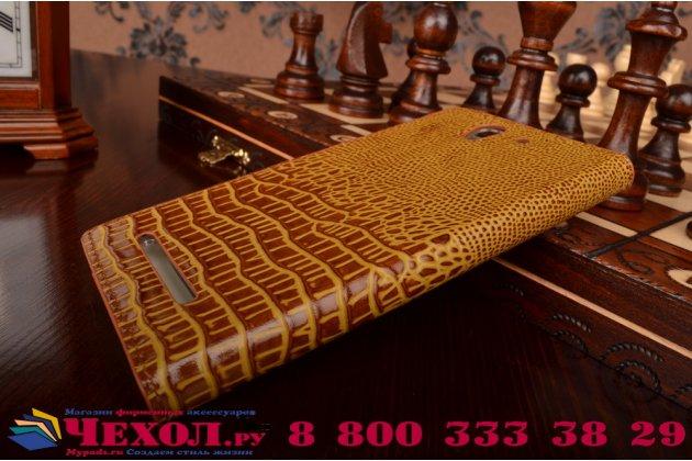 Роскошный эксклюзивный чехол с объёмным 3d изображением кожи крокодила коричневый для sony xperia c3/c3 dual sim d2533 /d2502 /s55t/ s55u. только в нашем магазине. количество ограничено