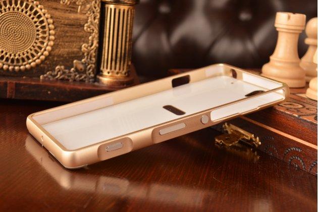Металлическая задняя панель-крышка-накладка из тончайшего облегченного авиационного алюминия для sony xperia c4/ c4 dual e5303 / e5333 золотая