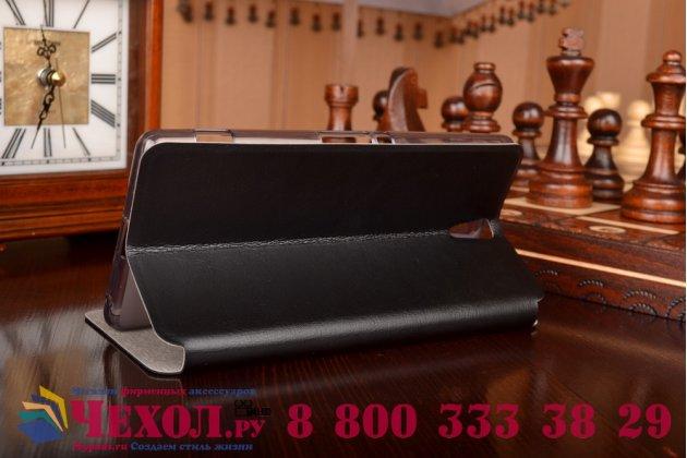 """Чехол-книжка из качественной водоотталкивающей импортной кожи на жёсткой металлической основе для sony xperia c5 ultra / c5 ultra dual e5533 e5563/ t4 ultra 6.0"""" черный"""