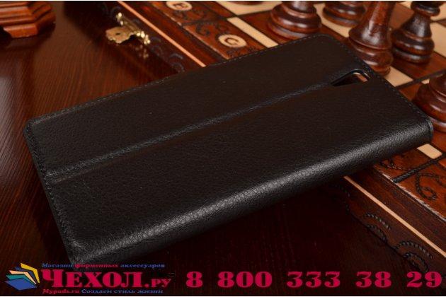 """Чехол-книжка из качественной импортной кожи с мульти-подставкой застёжкой и визитницей для сони экспириа с5 ультра / с5 ультра дуал е5533 е5563/ т4 ультра 6.0"""" черный"""