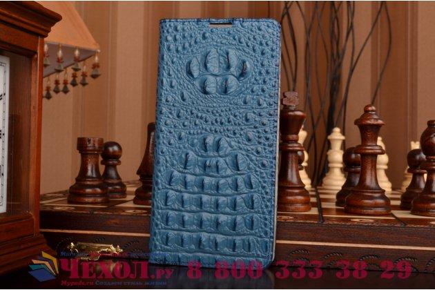 """Роскошный эксклюзивный чехол с объёмным 3d изображением рельефа кожи крокодила синий для sony xperia c5 ultra / c5 ultra dual e5533 e5563 6.0"""". только в нашем магазине. количество ограничено"""