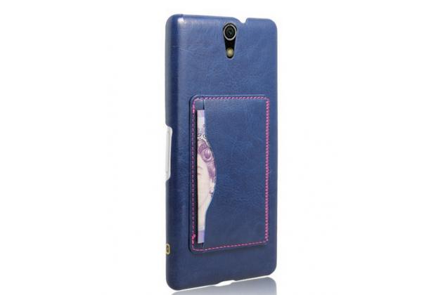 """Роскошная элитная премиальная задняя панель-крышка для sony xperia c5 ultra / c5 ultra dual e5533 e5563/ t4 ultra 6.0""""  из качественной кожи буйвола с визитницей синий"""