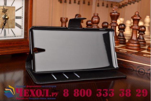 Чехол-книжка из качественной импортной кожи с подставкой застёжкой и визитницей для сони эксперия це5 черный