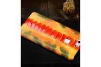 """Роскошная эксклюзивная накладка из натуральной кожи с ноги страуса оранжевая  для sony xperia c6 / c6 ultra / xa ultra 6.0"""" (f3212 /f3216). только в нашем магазине. количество ограничено"""