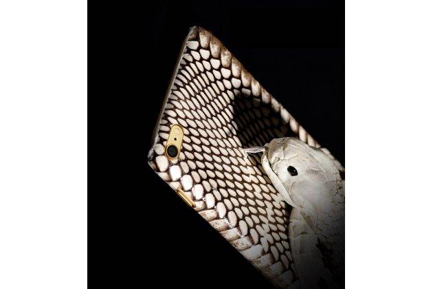 """Роскошная экзотическая задняя панель-крышка с фактурной отделкой натуральной кожи с объёмным 3d изображением змеи белый для sony xperia c6 / c6 ultra / xa ultra 6.0"""" (f3212 /f3216). только в нашем магазине. количество ограничено"""