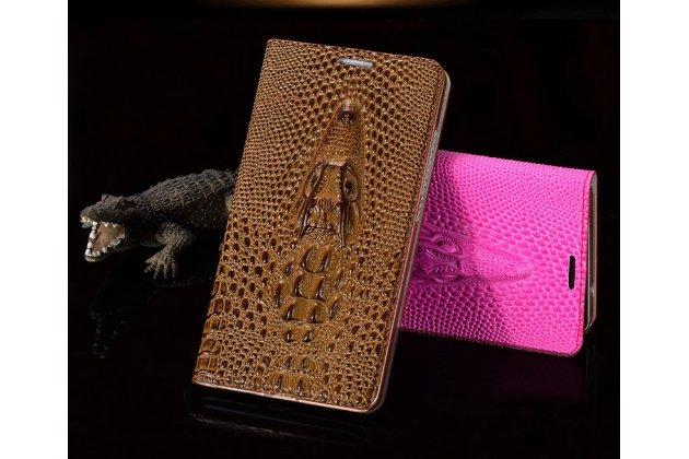 """Роскошный эксклюзивный чехол с объёмным 3d изображением кожи крокодила коричневый для  sony xperia c6 / c6 ultra / xa ultra 6.0"""" (f3212 /f3216). только в нашем магазине. количество ограничено"""