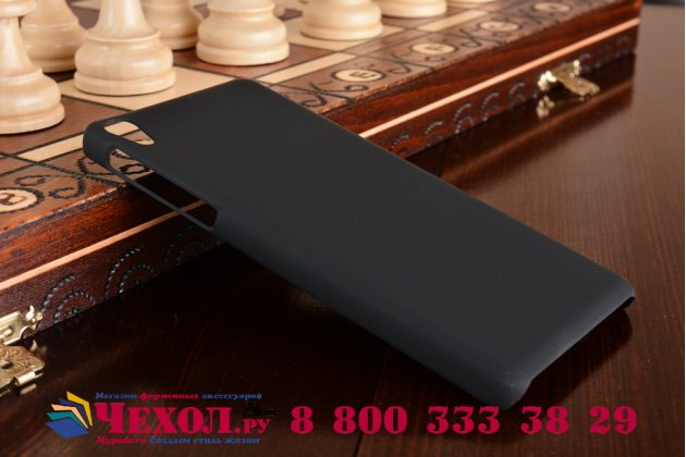 Задняя панель-крышка-накладка из тончайшего и прочного пластика для sony xperia e5 черная