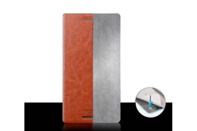 Чехол-книжка из качественной водоотталкивающей импортной кожи на жёсткой металлической основе для sony xperia m4 aqua/aqua dual e2303/e2306/e2312/e2333 черный