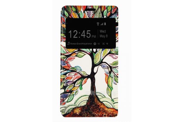 """Уникальный необычный чехол-книжка для sony xperia m4 aqua/aqua dual """"тематика сказочное дерево"""" с окошком для выходящих вызовов"""