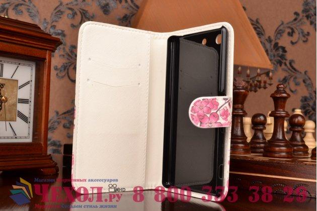 "Уникальный необычный чехол-книжка для sony xperia m5 e5603/ m5 dual e5633 ""тематика цветок сакуры"""