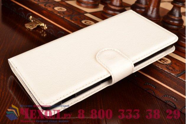 Чехол-книжка из качественной импортной кожи с мульти-подставкой застёжкой и визитницей для сони экспириа м5 е5603 / м5 дуал е5633 белый