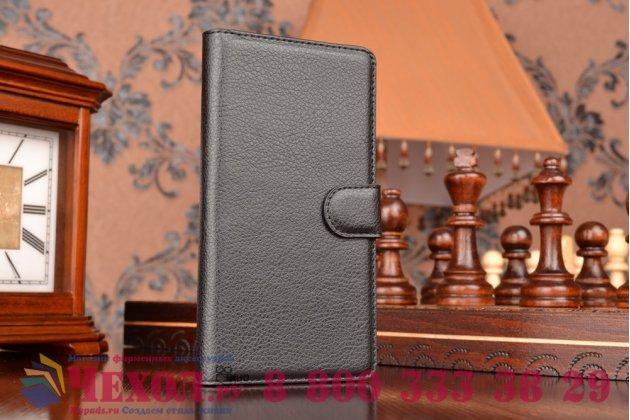 Чехол-книжка из качественной импортной кожи с мульти-подставкой застёжкой и визитницей для сони экспириа м5 е5603 / м5 дуал е5633 черный