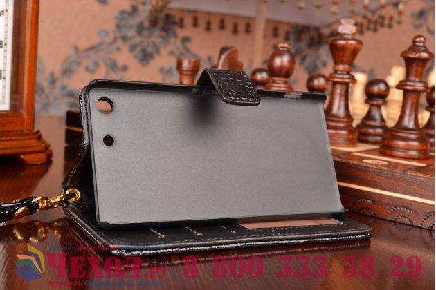 Чехол-книжка с подставкой для sony xperia m5 e5603/ m5 dual e5633 лаковая кожа крокодила цвет черный