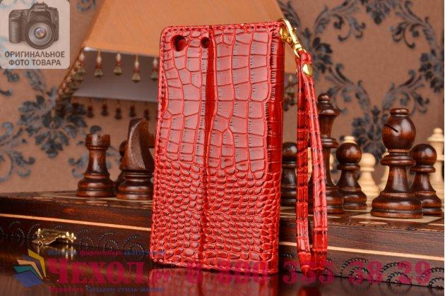 Чехол-книжка с подставкой для sony xperia m5 e5603/ m5 dual e5633 лаковая кожа крокодила алый огненный красный