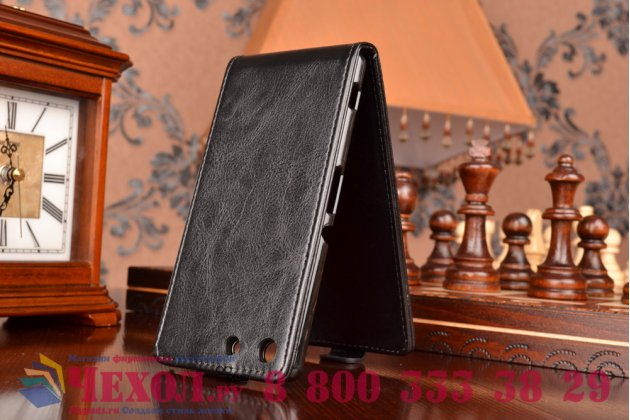 Вертикальный откидной чехол-флип для sony xperia m5 e5603/ m5 dual e5633 черный кожаный