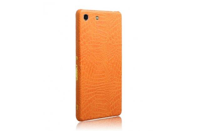 Необычная элитная пластиковая задняя панель-накладка для sony xperia m5 e5603/ m5 dual e5633 обтянутая кожей крокодила оранжевая