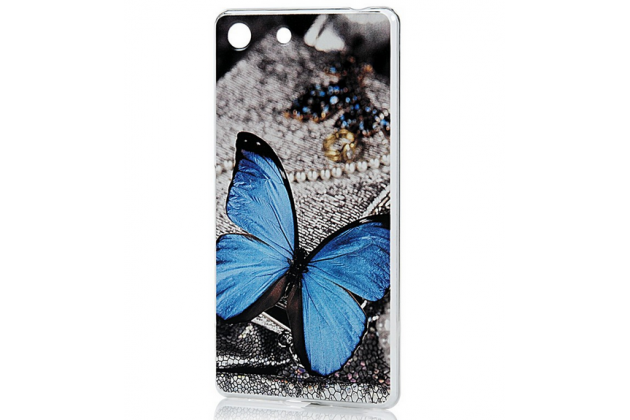 "Задняя панель-крышка-накладка из тончайшего пластика для sony xperia m5 e5603/ m5 dual e5633 с объёмным 3d рисунком ""тематика бабочка"""