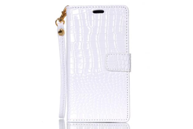 Чехол-книжка с подставкой для sony xperia m5 e5603/ m5 dual e5633 лаковая кожа крокодила цвет белый