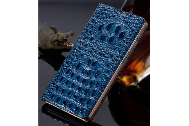 Роскошный эксклюзивный чехол с объёмным 3d изображением рельефа кожи крокодила синий для sony xperia m5 e5603/ m5 dual e5633. только в нашем магазине. количество ограничено