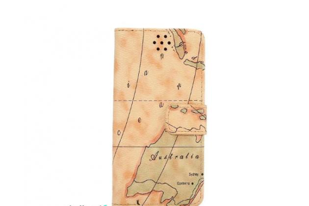 "Чехол-книжка для  sony xperia x performance/ x performance dual 5.0"" (f8131/ f8132)  с визитницей и мультиподставкой кожаный тематика ""карта мира"" желтый"