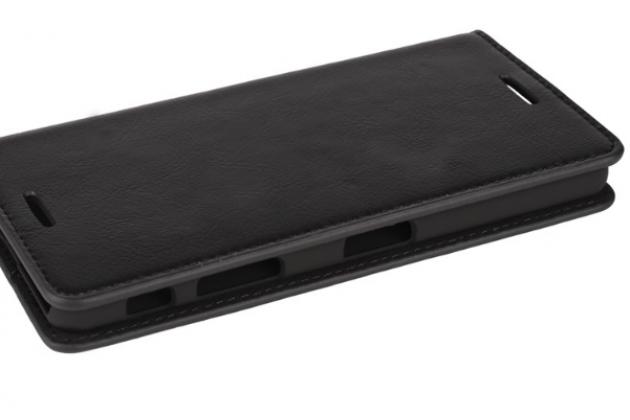 """Премиальный элитный чехол-книжка из качественной импортной кожи с мульти-подставкой и визитницей для sony xperia x performance/ x performance dual 5.0"""" (f8131/ f8132) """"ретро"""" черный"""