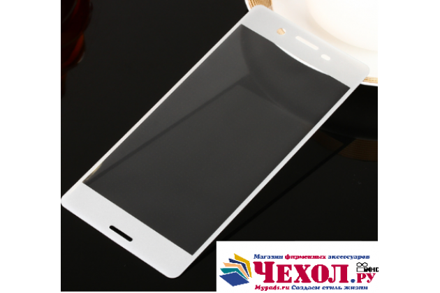 """3d защитное изогнутое стекло с закругленным изогнутым краем которое полностью закрывает экран / дисплей по краям с олеофобным покрытием для  sony xperia x / x dual 5.0"""" (f5121 / f5122) белое"""