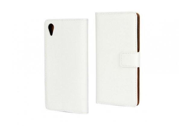 """Чехол-книжка из качественной импортной кожи с подставкой застёжкой и визитницей для sony xperia x / x dual 5.0"""" (f5121 / f5122) белый"""
