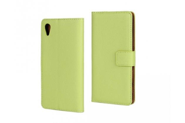 """Чехол-книжка из качественной импортной кожи с подставкой застёжкой и визитницей для sony xperia x / x dual 5.0"""" (f5121 / f5122) зелёный"""