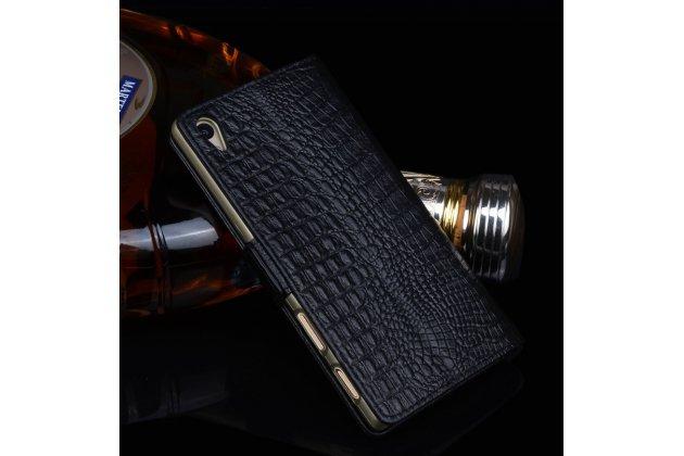 """Роскошный эксклюзивный чехол с фактурной прошивкой рельефа кожи крокодила и визитницей черный для sony xperia x / x dual 5.0"""" (f5121 / f5122). только в нашем магазине. количество ограничено"""