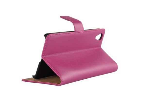 """Чехол-книжка из качественной импортной кожи с подставкой застёжкой и визитницей для sony xperia x / x dual 5.0"""" (f5121 / f5122) розовый"""