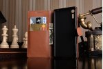 """Фирменный чехол-книжка из качественной импортной кожи с подставкой застёжкой и визитницей для Sony Xperia XZ Dual (F8332) 5.2"""" коричневый"""