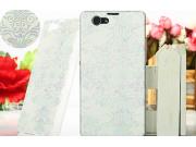 Фирменная роскошная модная задняя панель-чехол-накладка для Sony Xperia Z1 Compact D5503 белые узоры..