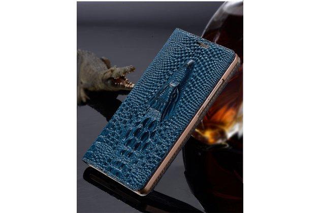 Роскошный эксклюзивный чехол с объёмным 3d изображением кожи крокодила голубой для sony xperia z3 compact d5803. только в нашем магазине. количество ограничено